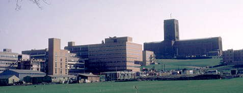 University Library & Cathedral from perimeter road, March 1972.